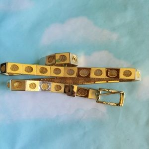 VTG 90s Gold Mesh Oval Hollow Out Belt